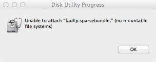 No Mountable File System Sparsebundle