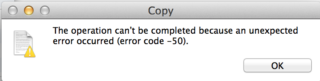 Fix Unexpected Error -50 in OS X