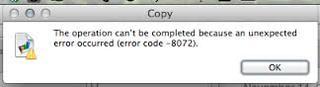 Mac OS X 10.8 error code 8072