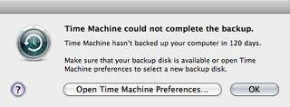 Time machine could not complete the backup