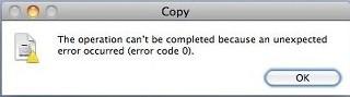 Remove Macbook copy error code 0