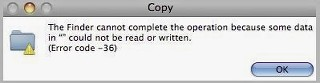 Finder Error Code 36 in MAC