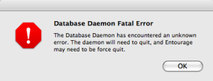 Entourage Daemon Error Mac