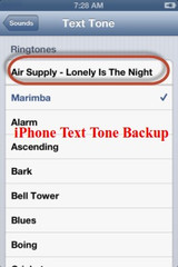 How to backup iPhone text tone