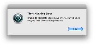 time machine error unable to complete backup