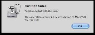 Partition failed error on Mac OS X