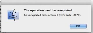 Mac OS X error code 8076