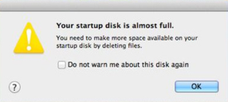 "How to Resolve: ""Your Startup Disk is Almost Full"" Error"