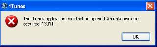 iTunes 8 error code 13014