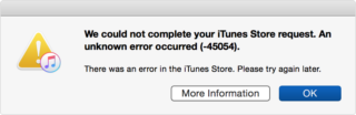 Mac Error Code 45054 in iTunes Store