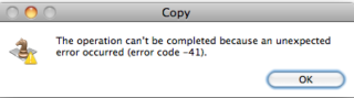 Mac error code 41 copying files