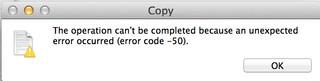 Mac os x lion error code 50