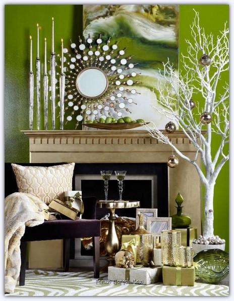 dekoideen Weiß Grün baumkugel vase weihnachtsbaum federn