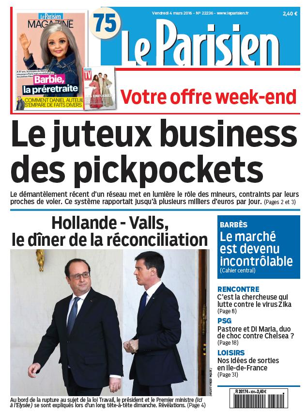 Le Parisien + Journal de Paris & Magazine du Vendredi 4 Mars 2016