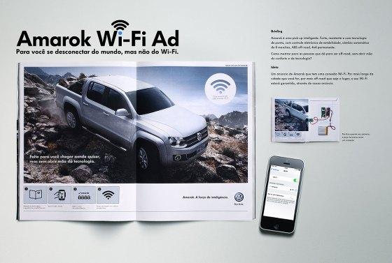 Anúncio da Volkswagen na revista Veja oferece conexão Wi-Fi gratuita