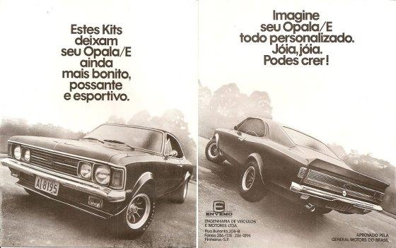 Estes Kits da Envemo deixam seu Chevrolet Opala/E ainda mais bonito, possante e esportivo. Imagine seu Opala/E todo personalizado. Jóia, jóia. Podes crer!