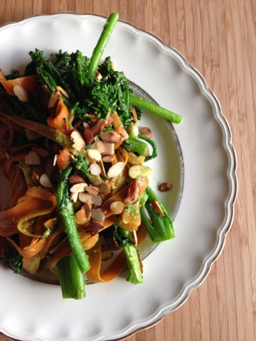broccolini and shaved carrot salad