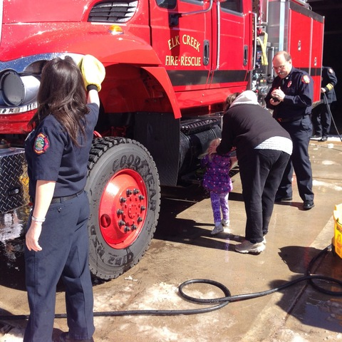 washing elk creek fire engine wetdown ceremony