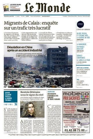 Le Monde du Vendredi 14 Août 2015