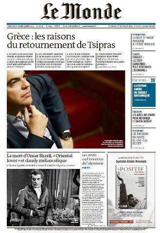 Le Monde du Dimanche 12 et Lundi 13 Juillet 2015