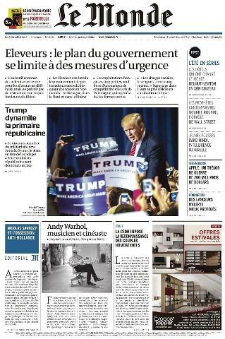 Le Monde du Jeudi 23 Juillet 2015