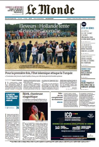 Le Monde du mercredi 22 juillet 2015