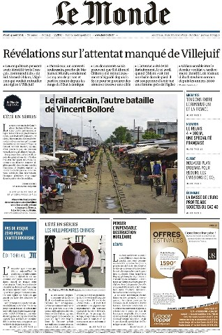 Le Monde du Mardi 4 Août 2015