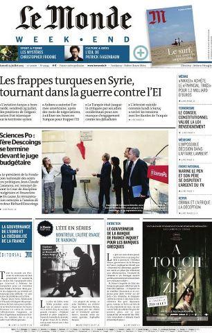 Le Monde du Samedi 25 Juillet 2015