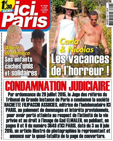 Ici Paris 3658 - 12 au 18 Aout 2015