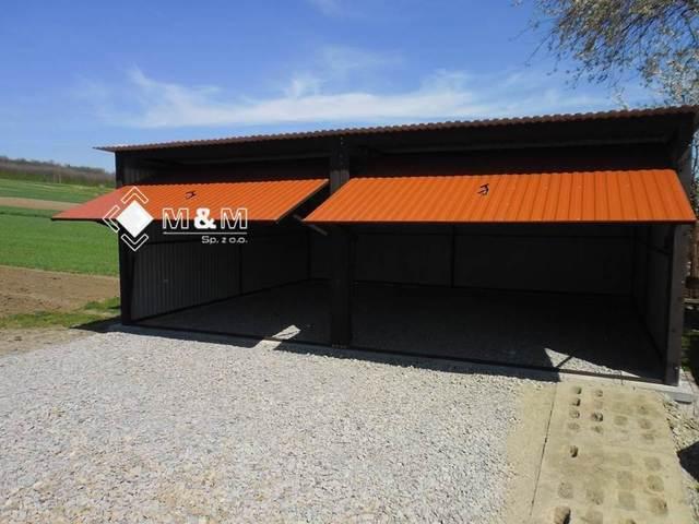 mehrzweck garage blechgarage fertiggarage 5mx6 m mit schwingtoren ebay. Black Bedroom Furniture Sets. Home Design Ideas