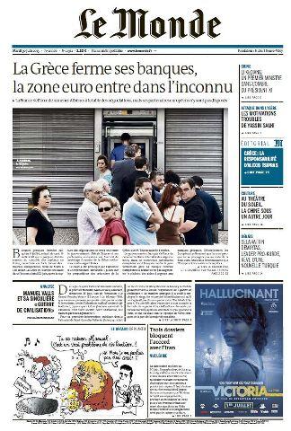 Le Monde du Mardi 30 Juin 2015