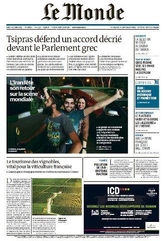 Le Monde du Jeudi 16 Juillet 2015