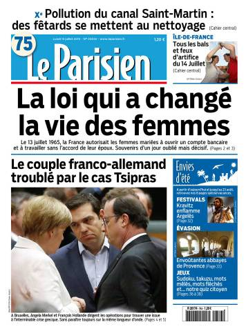 Le Parisien + Journal de Paris du Lundi 13 Juillet 2015