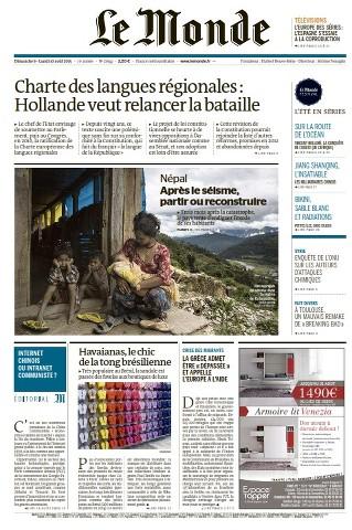 Le Monde du Dimanche 9 et Lundi 10 Août 2015