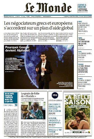 Le Monde du Mercredi 12 Aout 2015