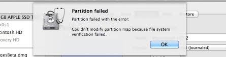 Fix Partition Failed Error On Mac OS X Mountain Lion