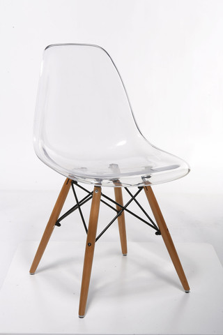 Eames style dsw acrylic side dining chair mid century for Eames molded plastic dowel leg side chair