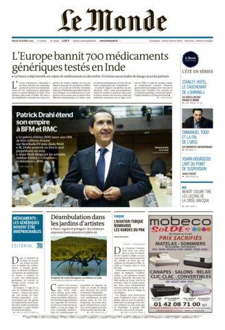 Le Monde du mardi 28 juillet 2015