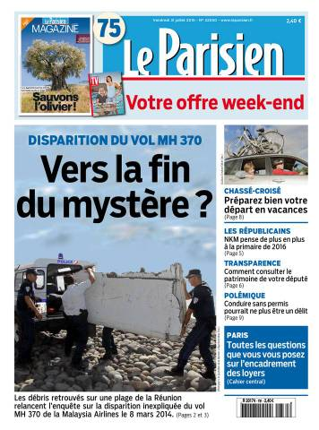 Le Parisien + Journal de Paris du Vendredi 31 Juillet 2015