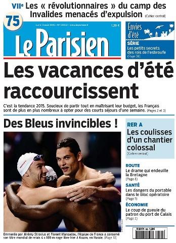 Le Parisien du Lundi 3 Août 2015