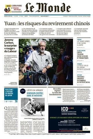 Le Monde du Jeudi 13 Août 2015