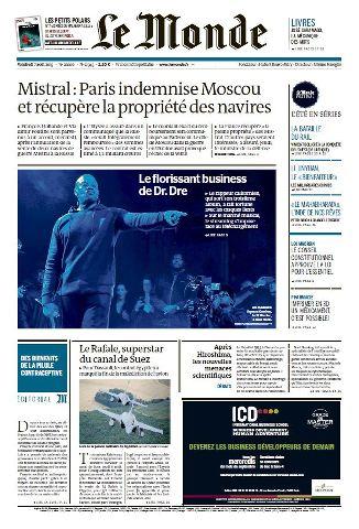 Le Monde du Vendredi 7 aout 2015