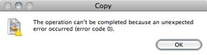 Mac Unexpected Error Code 0
