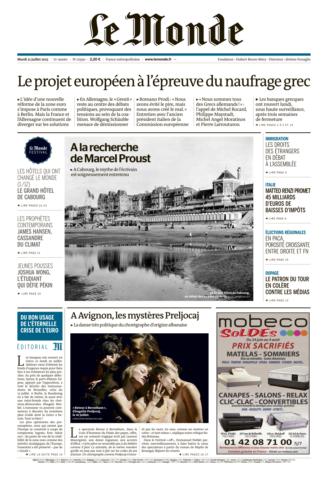Le Monde du mardi 21 juillet 2015