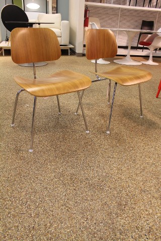 Eames Molded Plywood Dining Chair DCM Walnut SET OF 2 Herman Miller Modern DWR