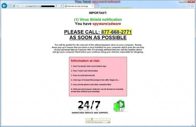 PcSupportPros.org pop-up ads