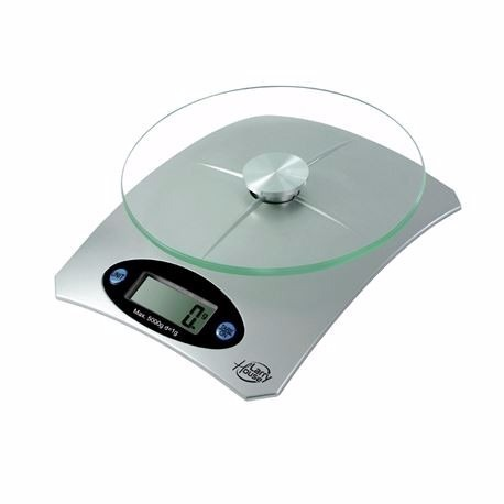 balanza de cocina 1g a 5kg henkel bandeja de cristal lcd s