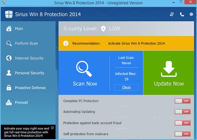 Sirius Win 8 Protection 2014
