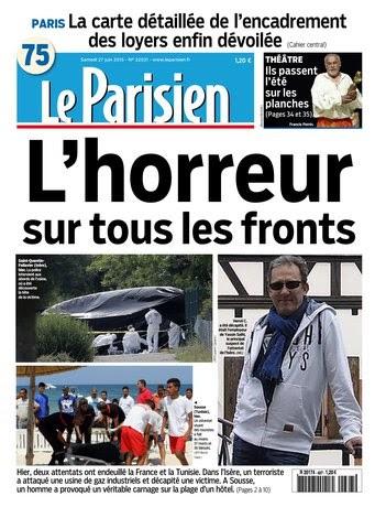 Le Parisien + Journal de Paris du samedi 27 juin 2015