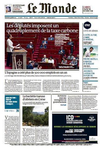 Le Monde du Vendredi 24 juillet 2015